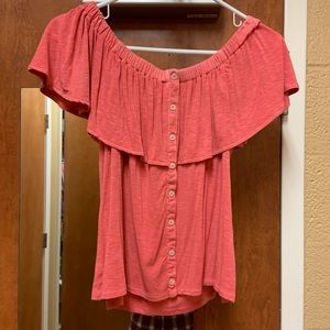 AE off the shoulder button up top